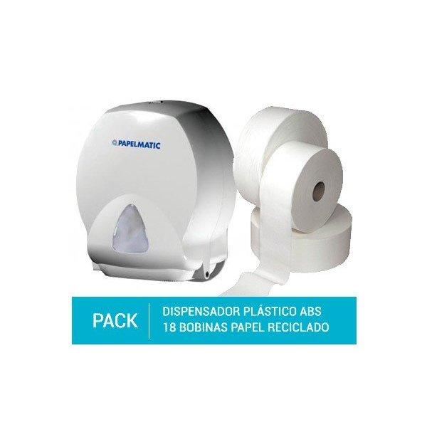 Dispensador Papel Higiénico Plástico ABS + Pack 18 Bobinas Papel Higiénico Reciclado