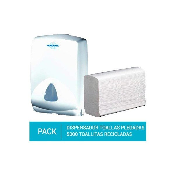 Dispensador Papel Toallas Plegadas + Pack 5000 Toallitas Plegadas Papel Reciclado