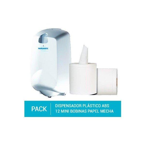 Dispensador Papel Mecha Plástico ABS + Pack 12 Mini Bobinas Papel Mecha 100% Pasta