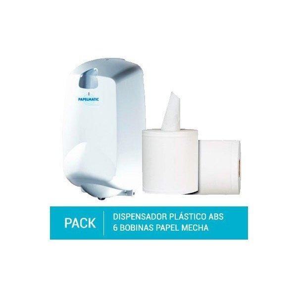 Dispensador Papel Mecha Plástico ABS + Pack 6 Bobinas Papel Mecha 100% Pasta