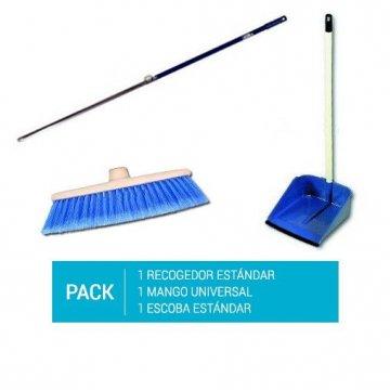 Pack Recogedor con mango de plástico 80cm + Mango aluminio 140cm + Cepillo escoba universal