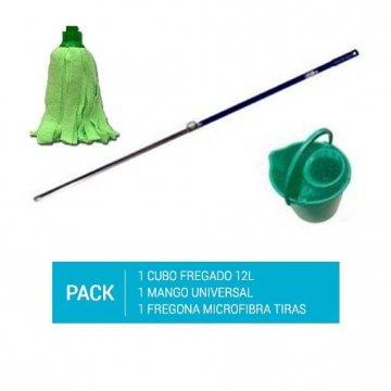 Pack de 1 cubo de fregona verde de 12l, un mango de aluminio de 140cm y un recambio de fregona de microfibra de tiras