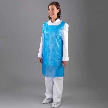 Pack 1000 delantales desechables de polietileno azul. Medidas 125x80 cm. Talla L.