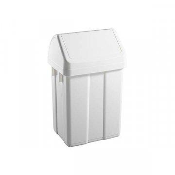 Papelera Plástico 50L Tapa Basculante. Color Blanco.