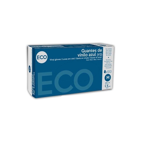 Guantes de vinilo ecológicos sin polvo color azul