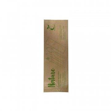 set de cubiertos ecológicos de madera + servilleta